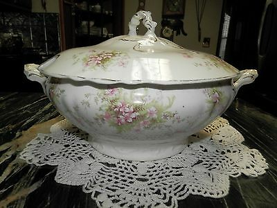 Antique Burgess & Co. Royal China soup tureen pink flowers