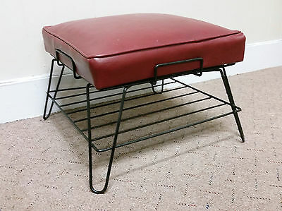 60s MID CENTURY MODERN Hairpin  Ottoman Foot Stool Bench Antique VANITY