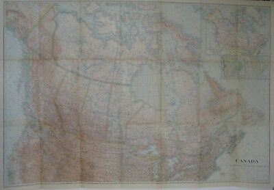 Large-Format 1936 Map CANADA Highways Railroads Steamship Routes Moose Factory