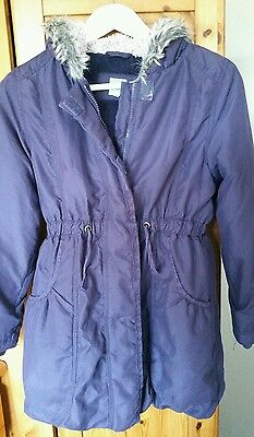 John Lewis Girl Purple Parker Fur Hooded Coat 11 Years Age VGC