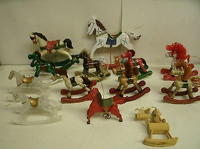 Lot of 14 Wooden Rocking Horse Christmas Tree Ornaments