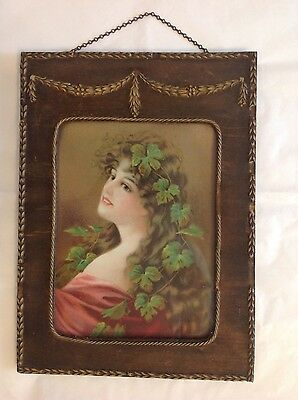 """Beautiful Antique 7 x 9 """" Framed  Victorian Lady Picture, With Hanger Chain"""