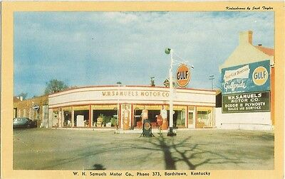 Bardstown, KY Kentucky old Postcard, Gulf Gas Station, Dodge Plymoth Dealer