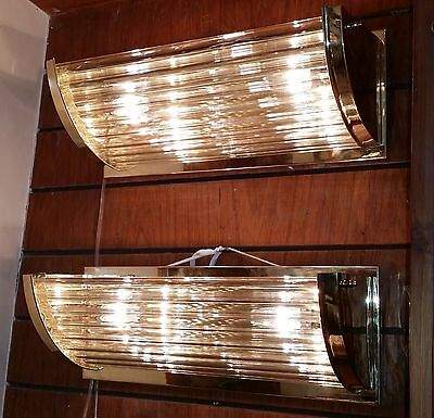 Rare Old Vintage Pair of Art Deco Brass & Glass Rod Ship Light Wall Sconces Lamp