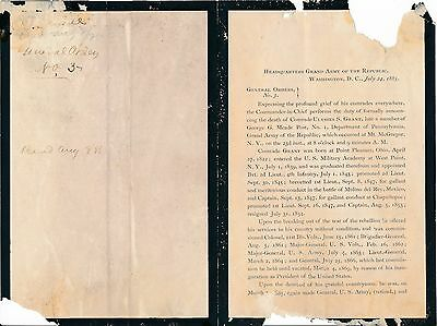 Army General Orders No. 3 announcing the death of Ulysses Grant - July 24, 1885