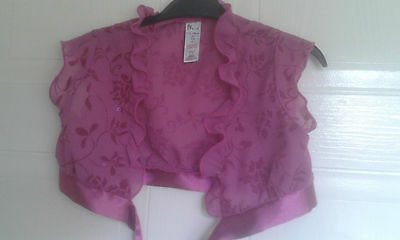 Girls Dark Pink Party Shrug Age 7-8 Bhs Excellent Condition