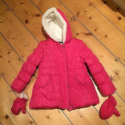 Pink Padded, Fleece Lined Coat With Detachable Mittens