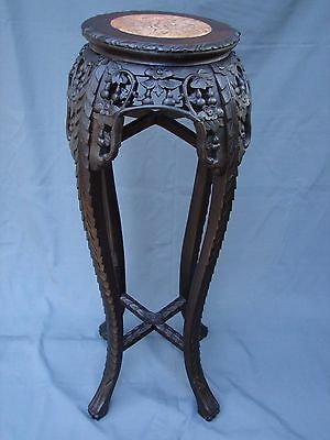 """Victorian Antique Chinese Carved Marble Top 35 ½"""" High Table Plant Stand c1880"""