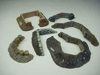 Wargames scenery. 6 piece Earthworks/Emplacements set 1/56 for 28mm (E)