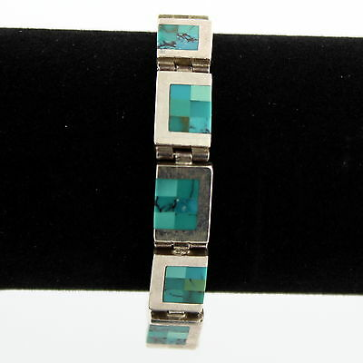 Sterling Silver Turquoise Mosaic Bracelet
