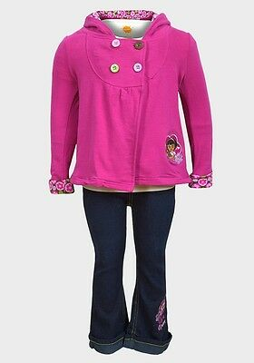 New Girls 3 Piece Set Dora The Explorer Size 3 Years (3T) Jeans Jacket Top