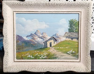 Vintage Framed Landscape Oil Painting Signed Willes Mountains Cottage Country