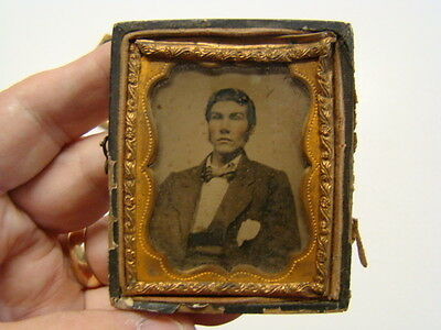 Distinguished Gentleman Fashions Daguerreotype Photograph and Frame 1860's