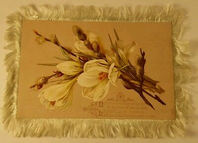 Antique 1880's Christmas Card Silk Edging Chromolithography