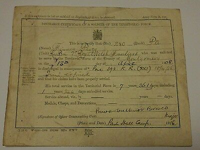 Discharge certificate of soldier of territorial force Welsh Fusiliers 1916 WW1