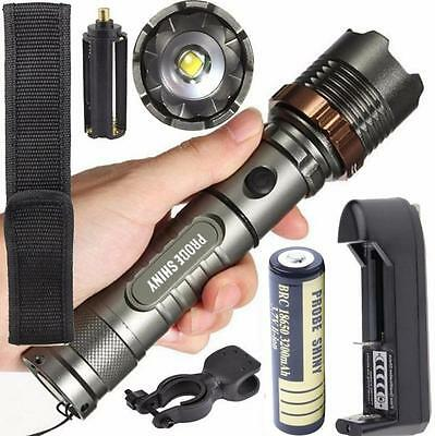 Tactical LED Flashlight 5000LM XM-L T6 Zoomable Torch Lamp + Battery + Charger