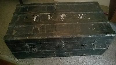 1920s pine and leather trunk.