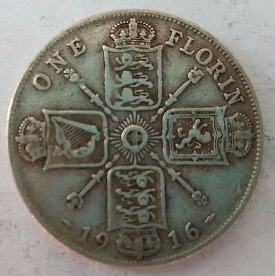 1916 King George V .925 Silver Florin – Two shillings