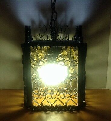 The Feldman Company Yellowish Glass and Metal Antique Hanging Light