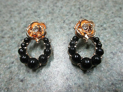 Vintage Gold Tone Black Plastic With Clear Rhinestone Earrings