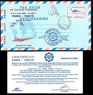 3.5.1996 AF CONCORDE PRESIDENTIAL FT Cpt CHEMEL SIGNED AEROGRAMME~ PARIS - TOKYO