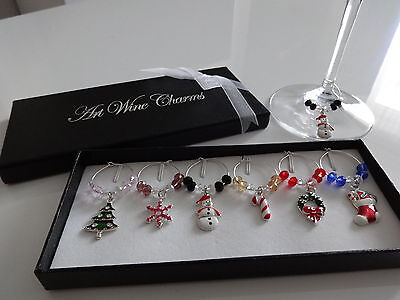 1 Box 6Mixed Christmas Wine Glass Charms Gift Table Decorations - HIGH QUALITY!