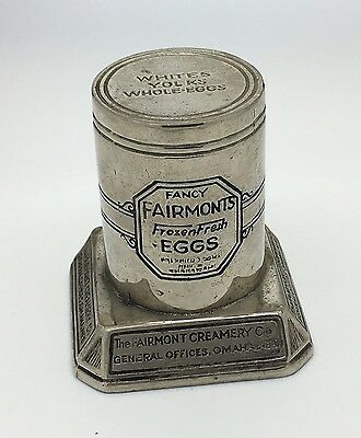 1930s FAIRMONT CREAMERY Figural ADVERTISING PAPERWEIGHT For FROZEN EGGS