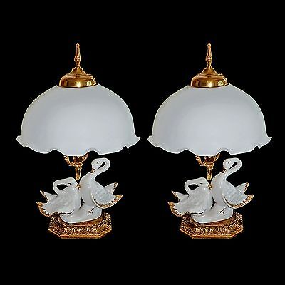 Pair of Vintage Art Deco Italian Porcelain Swans in White and Gold Table Lamps