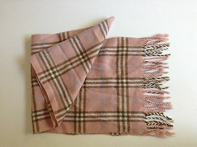 BURBERRY  girl pink plaid scarf 100% cashmere  girls size 4 5 6 7 8 9 10 4y 5y