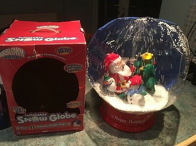 Christmas Santa & Snowman Inflatable light up Snow Globe Motion Activated Music