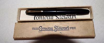 VINTAGE CONWAY STEWART FOUNTAIN PEN IN BOX,GUARANTEE,PAPERS 14Ct GOLD 1A NIB.