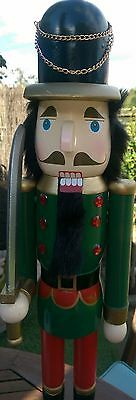 Christmas Nutcracker Wooden Soldier Deluxe Extra Large 68 Cms Black Beard Bnwt