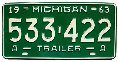 Vintage Michigan 1963 Trailer License Plate, Unused, Airstream Shasta Kenskill