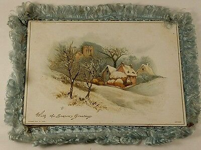 Antique 1880's Raphael Tuck & Sons Christmas Card Silk Edging Chromolithography