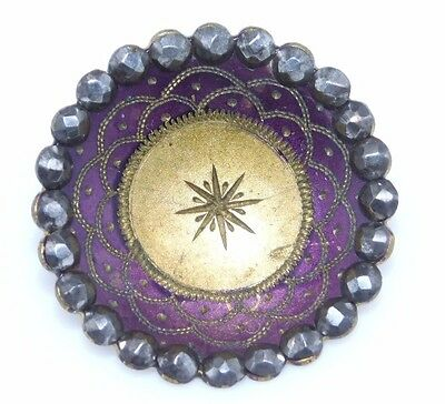 ANTIQUE BUTTON Purple CHASED Brass Shiny Cut STEEL Border