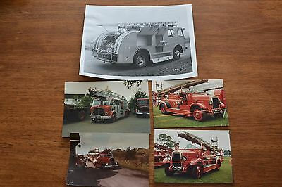 Vintage Fire Engine Photos X 5