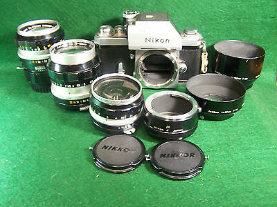 Lot of Nikon Nikkor Lens three lenses and accessories with Nikon F body camera
