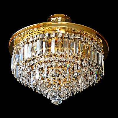 Luxury 24K Gold-Plated Weeding Cake 8 Tiers Crystal Prism Chandelier/Flush Mount