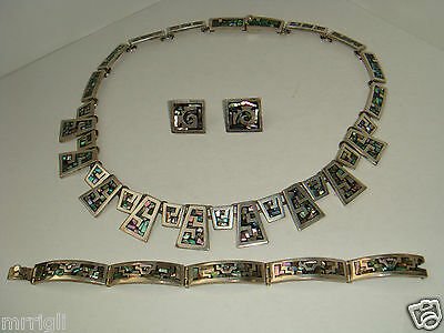 Mexican Sterling Silver Set W/mother Of Pearl Inlay-Necklace/bracelet/earrings
