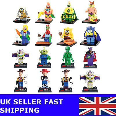 16 PCS Toy Story Spongebob Squarepant Buzz Cartoon Cute Minifigure Toy Fits Lego