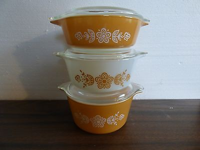 Pyrex Butterfly gold  set of 3 stacking casseroles #'s 403-02-01 mint cond.