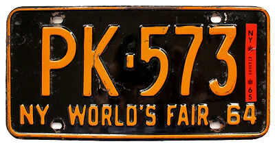 New York 1964 1965 WORLD'S FAIR Dutchess County License Plate SINGLE PLATE YEAR