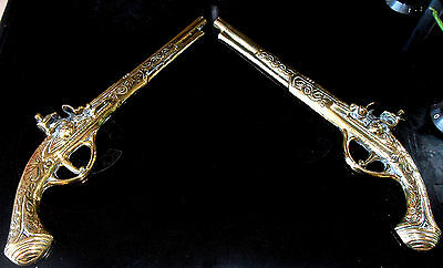 Brass Wall Hanging Detailed Pistols Collectable X 2