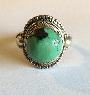 Vintage silver and turquoise ring, Tibetan