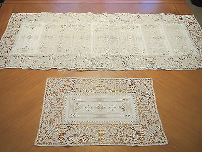 Placemats Set Lace Linen 10 Antique Embroidered Italian Table Place Mats Cutwork