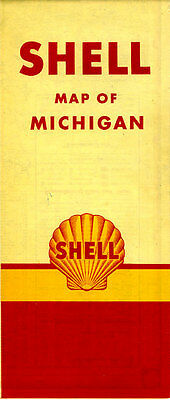 1949 Michigan Road Map from the Shell Oil Company