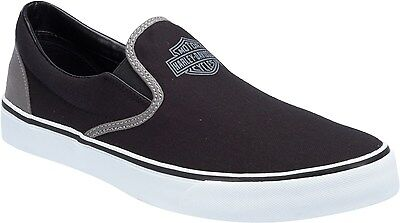 46b7647a6ca188 Harley-Davidson Mens Marchmont Black   Gray Canvas Casual Slip On Shoes  D93320