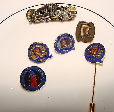 Roadway Trucking Collectible Tie, Hat, Lapel Pins -- 6 pin collection!
