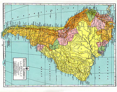 1938 Matthews Northrup ATLAS ORIGINAL MAPS South America and Brazil Peru Bolivia