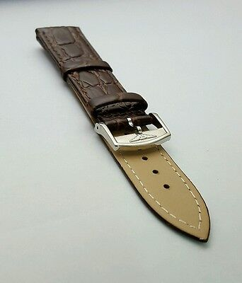 Longines,genuine,flat Croc Leather Strap 20Mm Brown Stainless Steel Buckle